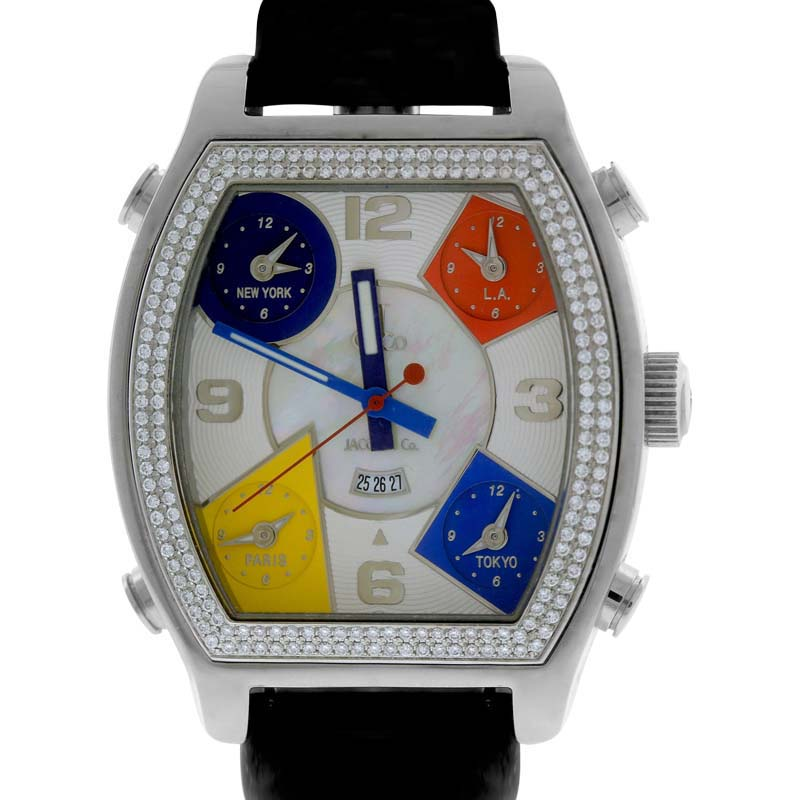 "Image of ""Jacob & Co. Diamond 5 Time Zone White MOP Stainless Leather 44mm Mens"""