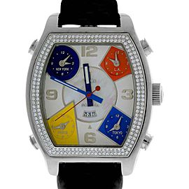 Jacob & Co. Diamond 5 Time Zone White MOP Stainless Leather 44mm Mens Watch