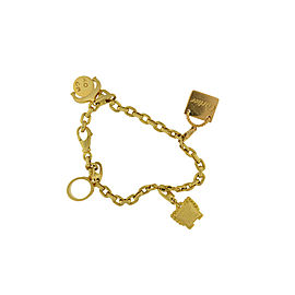 Cartier 18K Yellow Gold Charm Love Spartacus Chain Link Box Bracelet Size 7.25