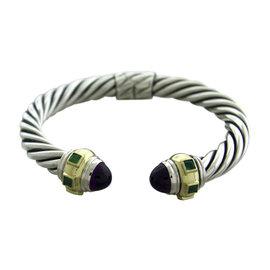 David Yurman Sterling Silver Amethyst Emerald Renaissance Cable Bracelet