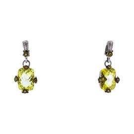 Judith Ripka 18K Gold And Sterling Silver Diamond & Canary Crystal Earrings