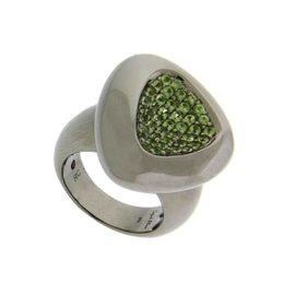 Roberto Coin Sterling Silver Capri Plus Ruthenium Plated Green Quartz Ring.
