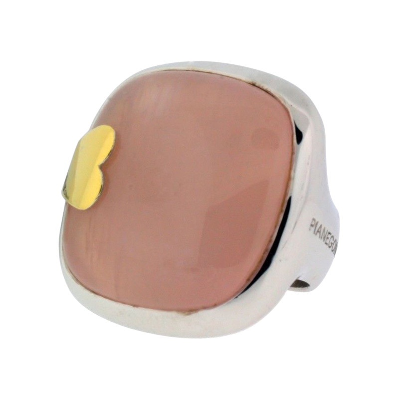 "Image of ""Pianegonda Sterling Silver Large Rose Quartz Ring"""