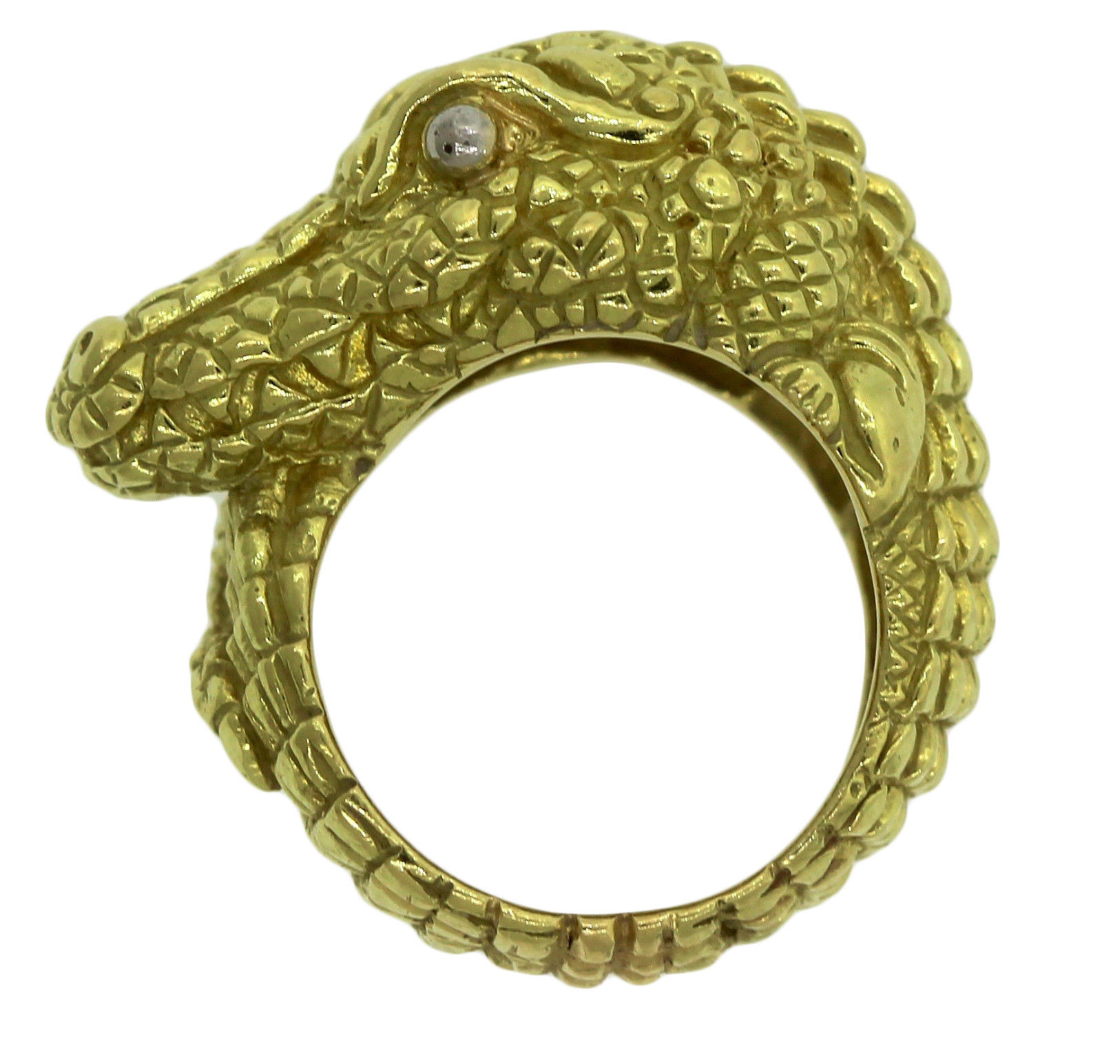 "Image of ""Kieselstein 18K Yellow Gold Heavy Alligator Cord Ring Sz 7.25"""