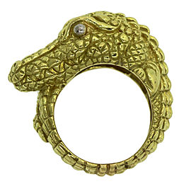 Kieselstein 18K Yellow Gold Heavy Alligator Cord Ring Sz 7.25