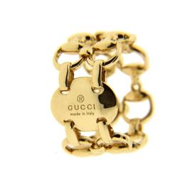 Gucci Double Horsebit 18K Yellow Gold Ring Size 5.25