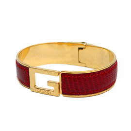 Gucci Gold Tone Metal and Leather Bracelet