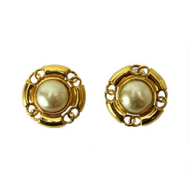 Chanel Gold Tone Metal Fake Pearl Coco-Mark Earrings