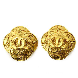 Chanel Camellia Gold Tone Metal Coco-Mark Earrings
