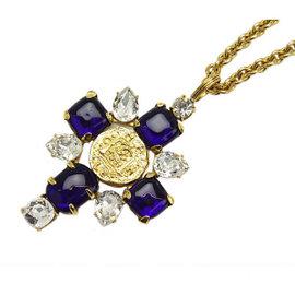 Chanel Logo CC Bijou Coco Mark Pendant Chain Necklace