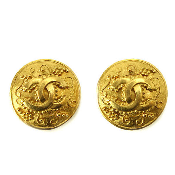 "Image of ""Chanel Gold Tone Metal Round Motif Coco-Mark Earrings"""