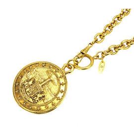 Chanel CC Logo Gold Tone Metal Coin Necklace