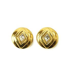 Chanel Gold Tone Metal Rhinestone Earrings