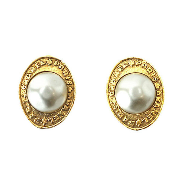 "Image of ""Chanel Gold Tone Metal Fake Pearl Logo CC Earrings"""