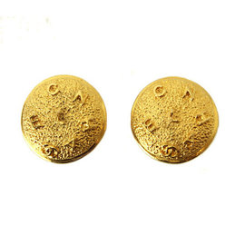 Chanel Gold Tone Metal Round Type Coco-Mark CC Logo Earrings