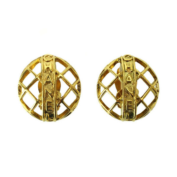 """Image of """"Chanel Gold Tone Metal Round Gold Earrings"""""""