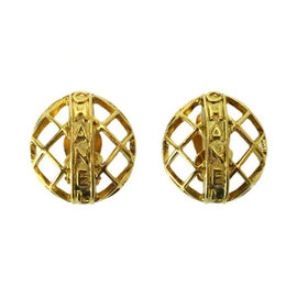Chanel Gold Tone Metal Round Gold Earrings