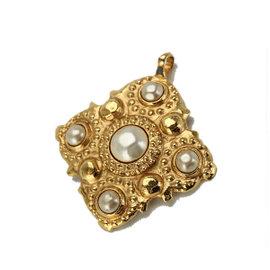 Chanel Gold Tone Metal Fake Pearl Pendant Top