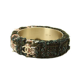 Chanel Tweed Green Bangle