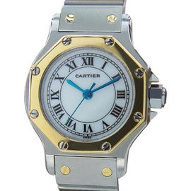 Cartier Santos Luxurious Swiss Automatic 18K Gold and Stainless Steel Womens Watch