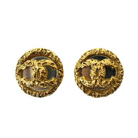 Chanel CC Logo Gold Tone Metal & Mirror Round-Type Coco-Mark Earrings