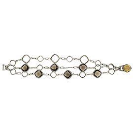 Tacori 18K Yellow Gold And Silver 3 Strand Smokey Quartz Bracelet