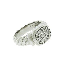 David Yurman 18K White Gold Pave Diamond Albion Ring Size 5.25
