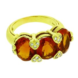 Judith Ripka 18K Yellow Gold Diamond & Orange Citrine Ring Sz 5