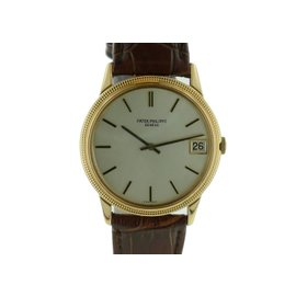Patek Philippe 3602 Calatrava Hobnail Bezel 18K Yellow Gold Mens Watch