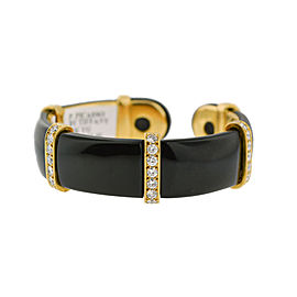 Tiffany & Co. Paloma Picasso 18K Yellow Gold Diamond Onyx Cuff Bangle Bracelet