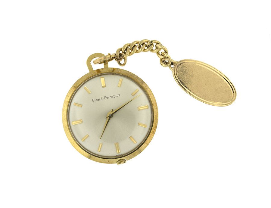 "Image of ""Girard Perregaux 18K Yellow Gold With Small Chain 14K Pocket Watch"""
