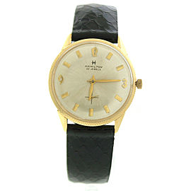 Hamilton 22 Jewels 14K Yellow Gold & Leather 33mm Watch