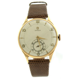 Omega 18K Yellow Gold & Leather 36mm Watch