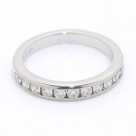Tiffany & Co. Platinum PT950 Half Diamond Band Ring Size 5.0