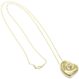 Tiffany & Co. 750 18K ellow Gold Full Heart Large Necklace