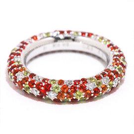Ponte Vecchio 750 18K White Gold Sapphire & Diamond Eterno Ring Size 5
