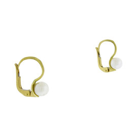 Mikimoto 18K Yellow Gold Akoya Pearl Leaver Back Earrings