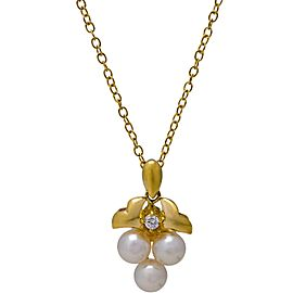 Mikimoto 18K Yellow Gold Diamond & Cultured Akoya Pearl Cluster Necklace