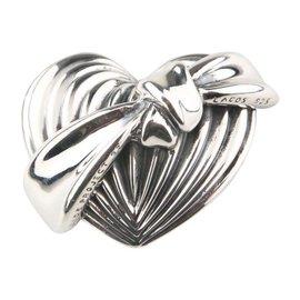 Lagos Caviar Sterling Silver Heart Ribbon Brooch