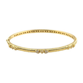 Judith Ripka 18K Yellow Gold & Diamond Hinged Bangle Bracelet