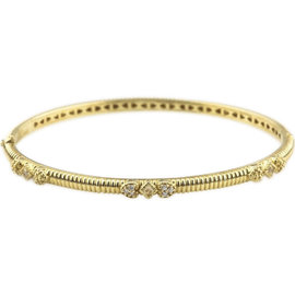 Judith Ripka 18K Yellow Gold & Diamond Hinged Romance Bangle Bracelet