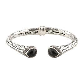 Scott Kay 925 Etch Sterling Silver Diamond-Framed Onyx Cuff Bracelet