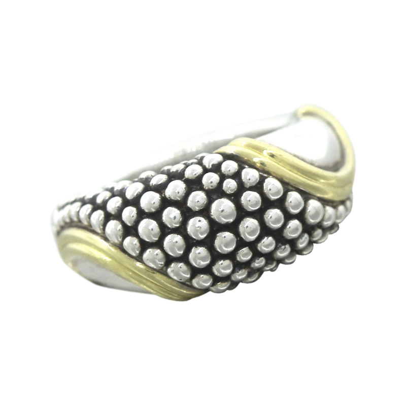 "Image of ""Lagos 18K Yellow Gold Sterling Silver Modernist Dotted Band Ring Size"""