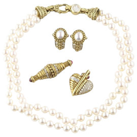 Judith Ripka 18K Yellow Gold Diamond Pearl Jewelry Set Necklace Earrings Pendant Brooch