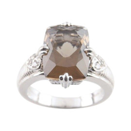 Judith Ripka Sterling Silver Cushion Cut Smoky Quartz & CZ Ring Size 10