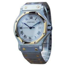 Cartier Santos Swiss 18K Gold & Stainless Steel Unisex Watch