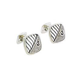 David Yurman Sterling Silver Square Half Diamond Cable Logo Cufflinks.