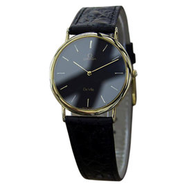 Omega DeVille Swiss Made Stainless Steel Yellow Gold Plated Quartz Dress Mens Watch