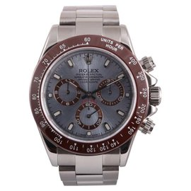 Rolex Daytona 116520 Stainless Steel Custom Ice Blue Dial Brown Bezel 40mm Watch