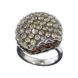 Boucheron 18K White Gold Tentation Macaroon Garnet Diamond Ring Size 6-6.25